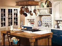 Country Kitchen Idea with Blue Euro Cabinets