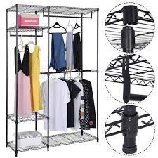 portable closet organizer storage rack clothes hanger home garment shelf rod us