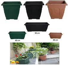 set of 2 square plastic flower pots 45