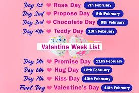 happy valentine day week list 2022 february