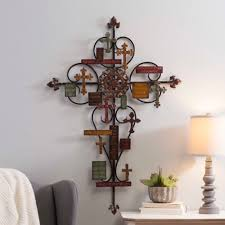 vibrant ideas metal cross metal cross wall decor simple large decorative wall clocks