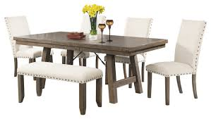 dana 6 piece dining set with table chairs and bench