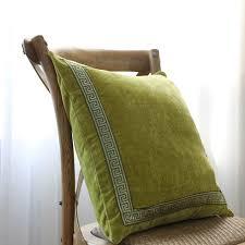 green velvet pillow. Soft Green Velvet Pillow Case Embroidery Cushion Cover Pillows For Chairs Office Car Decorative Sofa Cushions E