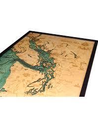 Nautical Wood Charts Woodcharts Sailish Sea Bathymetric 3 D Wood Carved Nautical Chart