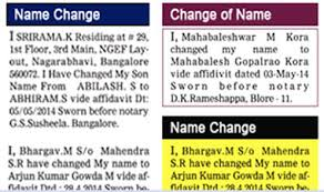 ad sample book name change classified ads in newspaper namechange