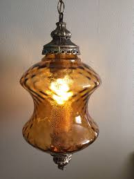 lighting vintage amber glass swag light fixture mid century lamp parts drum fixtures canada hanging