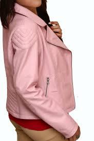 women biker pink real leather jacket