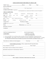 Emergency Form For Daycare Child Symptoms Record While In Child Care Form Daycare