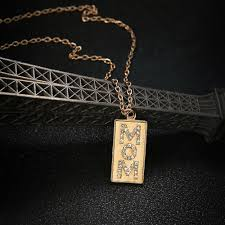 details about mother s day gift mom charm crystal square pendant gold necklace chain jewelry