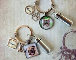 pet memorial key ring pet memorial keychain with custom photo and cremation urn loss of