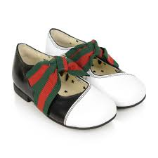 Gucci Baby Shoe Size Chart Gucci Girls Black White Leather Shoes With Web Bow
