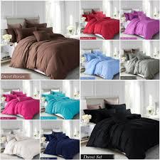 details about plain duvet cover bedding set single double king size including pillow cases