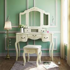 now tribesigns french vintage ivory white vanity dressing table set makeup desk with stool mirror bedroom