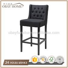 tufted bar chairs.  Bar Obay Black Wooden Bar Stools With Upholstered Linen Tufted Back High Chairs On