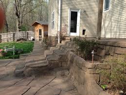 stamped concrete patio stamped decorative concrete stairs sidewalk retaining wall aquacrete
