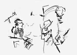 Yoko ono with steve shelley and thurston moore at cafe oto drawing by geoff winston © 2014 all rights reserved