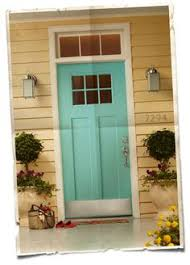 white front door yellow house. Pale Yellow Sided House With Turquoise Painted Door. Exterior White Front Door