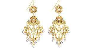 lyst jose maria barrera faux pearl crystal filigree chandelier earrings in metallic