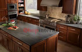 corinthian countertops corian vs quartz attractive black soapstone counteretop dark wooden kitchen island and kitchen cabinet with two large window and grey