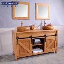 60 double barn door design bamboo natural color bathroom vanity