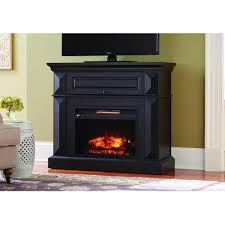 mantel console infrared electric fireplace in black in