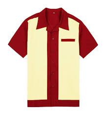 Yellow Designer Shirt Mens 2019 Wholesale Mens Purple Wear Panel Color Short Sleeve Button Up Cotton 50s 60s Vintage Casual Designer Shirts For Men From Regine 39 84