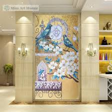 gold flower glass mosaic wall decor