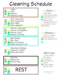 Examples Of Cleaning Schedules Weekly House Cleaning Schedule Winefrolleins Info