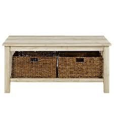 walker edison furniture company 40 in white oak wood storage coffee table with totes
