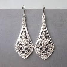 vintage art deco earrings art deco style silver filigree bridal earrings bridal chandelier earrings vintage