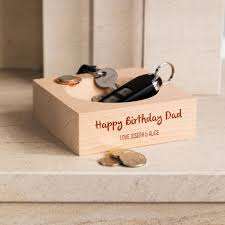 personalised happy birthday wooden coin tray