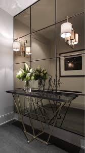 contemporary entry table. Smokey Mirror Wall For A Contemporary Entryway Entry Table