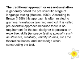 communicative language testing and communicative approach 4 the traditional approach or essay translation