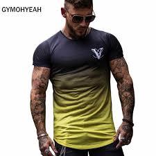 <b>Gradient color Fashion T</b> Shirt Men Fast compression Breathable ...