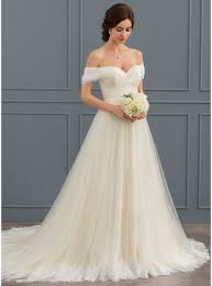 <b>Ball</b>-Gown <b>Off-the-Shoulder</b> Court Train Tulle Lace Wedding Dress ...