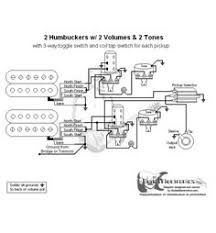 guitarelectronics com guitar wiring diagram 2 humbuckers 3 way 2 Humbucker 1 Volume Wiring guitar wiring diagram with 2 humbuckers, toggle switch, two volumes and two tone controls gibson with a push pull switch for single coil mode for each wiring diagram 2 humbucker 2 volume 1 tone