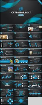 30 Blue Creative Charts Report Powerpoint Template Presentations