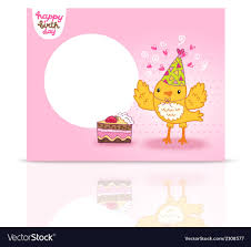 birthday postcard template cute happy birthday postcard template with a bird vector image