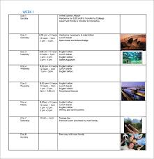 Sample Itinerary Forms Sample Weekly Itinerary 8 Documents In Pdf
