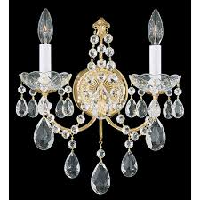 schonbek madison gold two light clear heritage handcut crystal wall sconce 12w x 14 5h x 12d