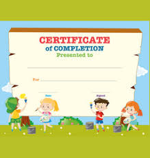 Certificate Template With Children On Background Vector Image