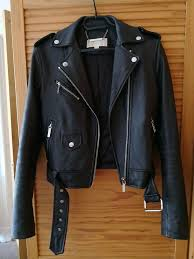 michael michael kors cropped belted leather moto jacket black s