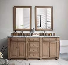 James Martin Bristol Double 72 Inch Transitional Bathroom Vanity White Washed Walnut