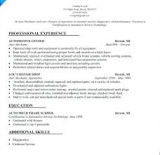 Resume For Auto Mechanic Unique Automotive Mechanic Resume Samples Delectable Auto Technician Job