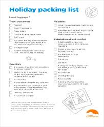 Vacation Packing Checklist Pdf 11 Packing List Sample Examples In Word Pdf
