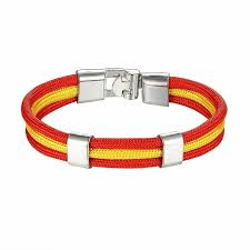 details about country spain flag nylon rope leather bracelet easy hook fashion jewelry vintage