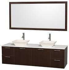 amare 72 espresso double sink vanity with white man made stone top 70 mirror modern bathroom vanities and sink consoles by luxvanity