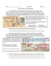 Meiji Restoration Worksheets Teaching Resources Tpt