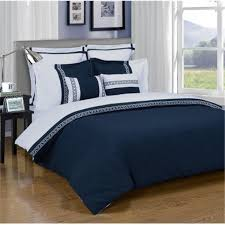 emma 3 piece king california king duvet cover set navy blue white