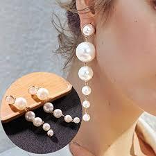 <b>Big</b> Pearl Dangle Drop Earrings for Women Girls <b>Trendy Elegant</b> ...
